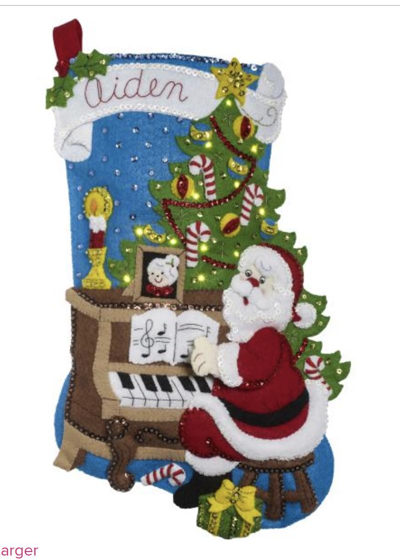Bucilla Santa at the Piano Stocking Kit