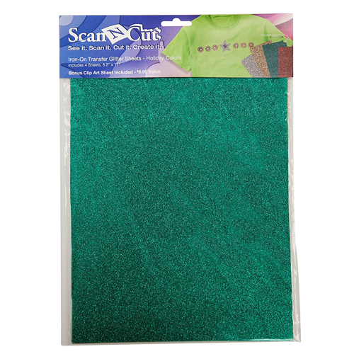 Scan N Cut Iron-On Transfer Glitter Sheets-Holiday Colors