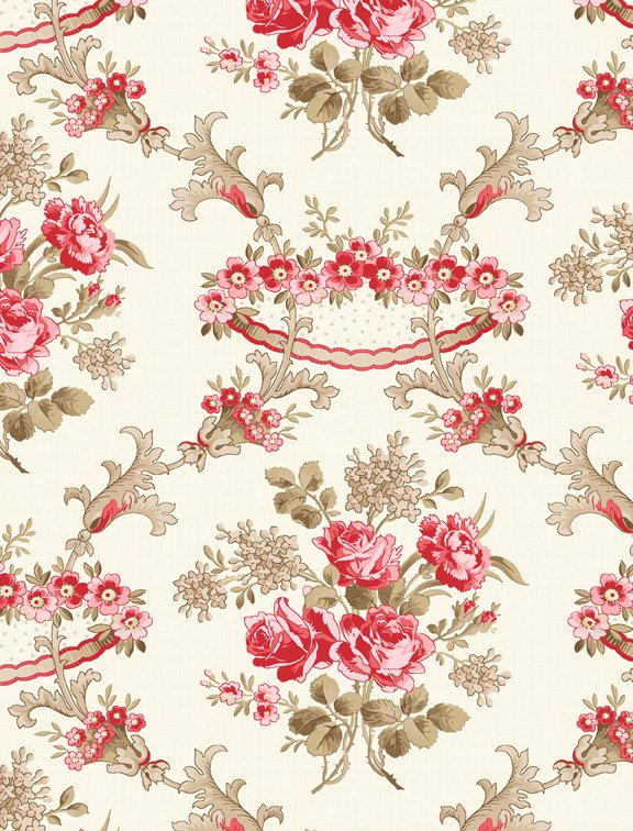 Rhapsody in Red Floral Damask Ivory