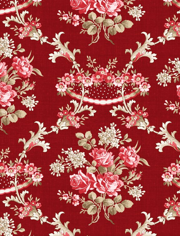 Rhapsody in Red Floral Damask Red