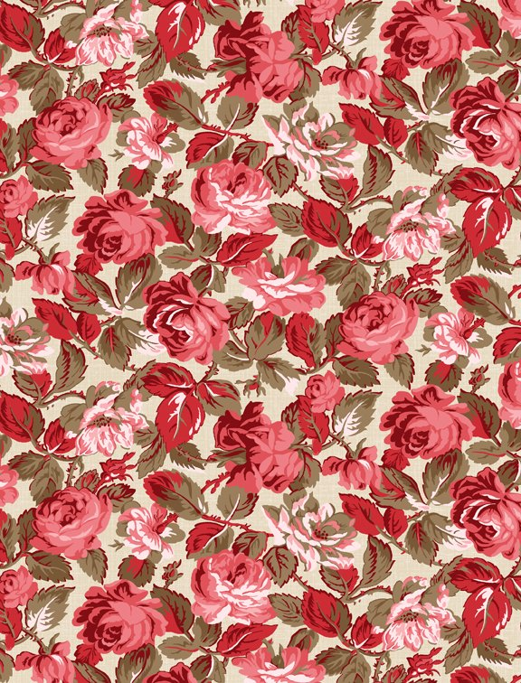 Rhapsody in Red Tonal Floral Ivory