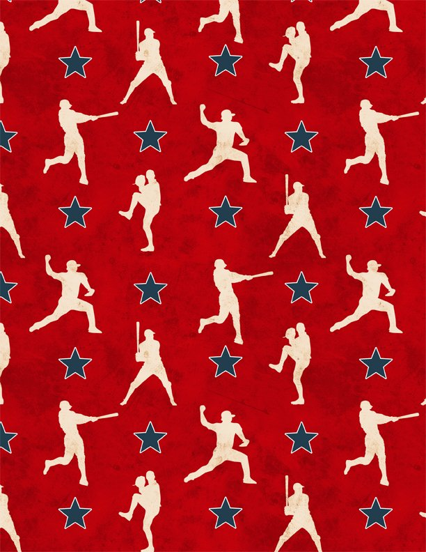 7th Inning Stretch Player Silhouettes Red