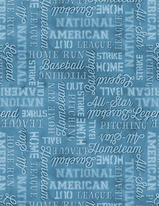 7th Inning Stretch Baseball Words Blue