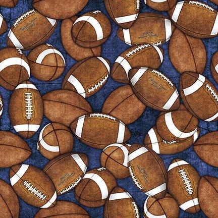 Gridiron Tossed Footballs Indigo