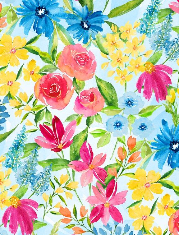 Bloom True Large Floral Blue
