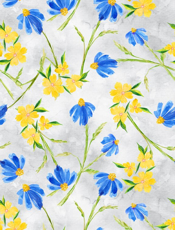 Bloom True Toss Floral Gray