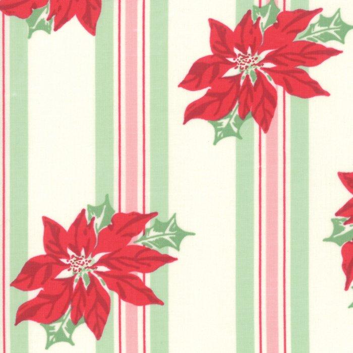 Sweet Christmas Poinsettia Stripe Natural