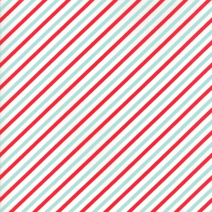 Vintage Holiday Bias Candy Stripe Red Aqua