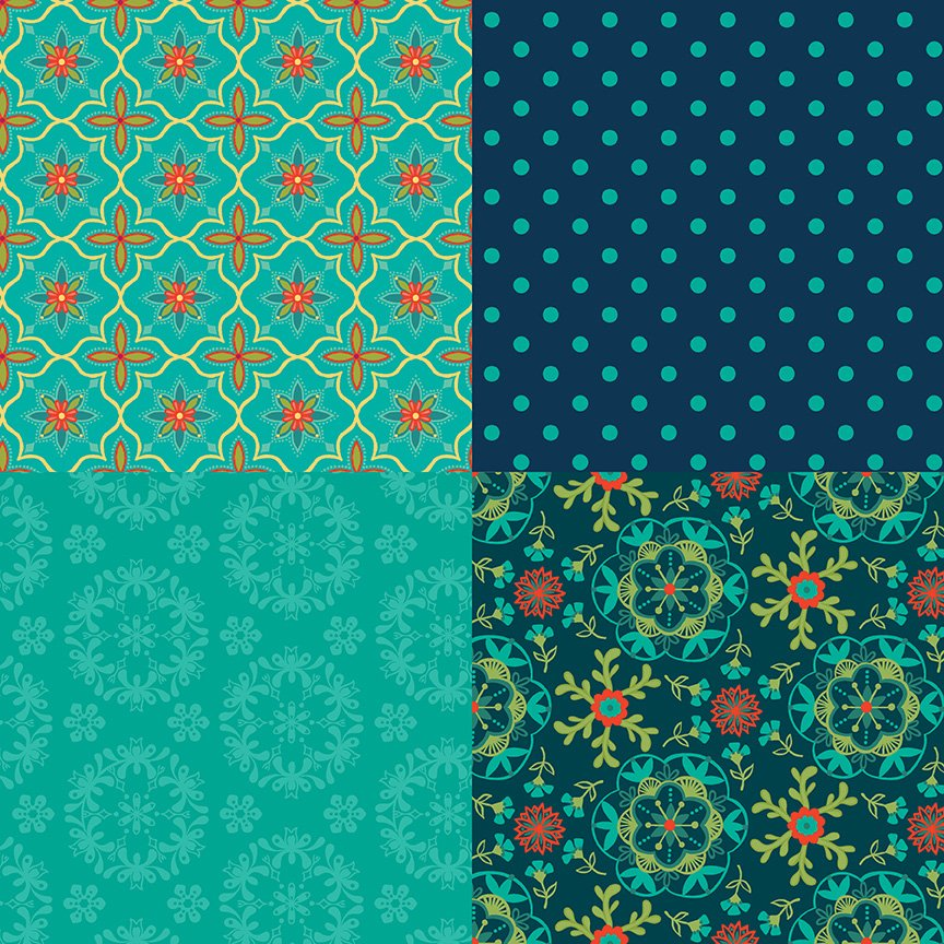 Wildflower Boutique Fat Quarter Panel Teal