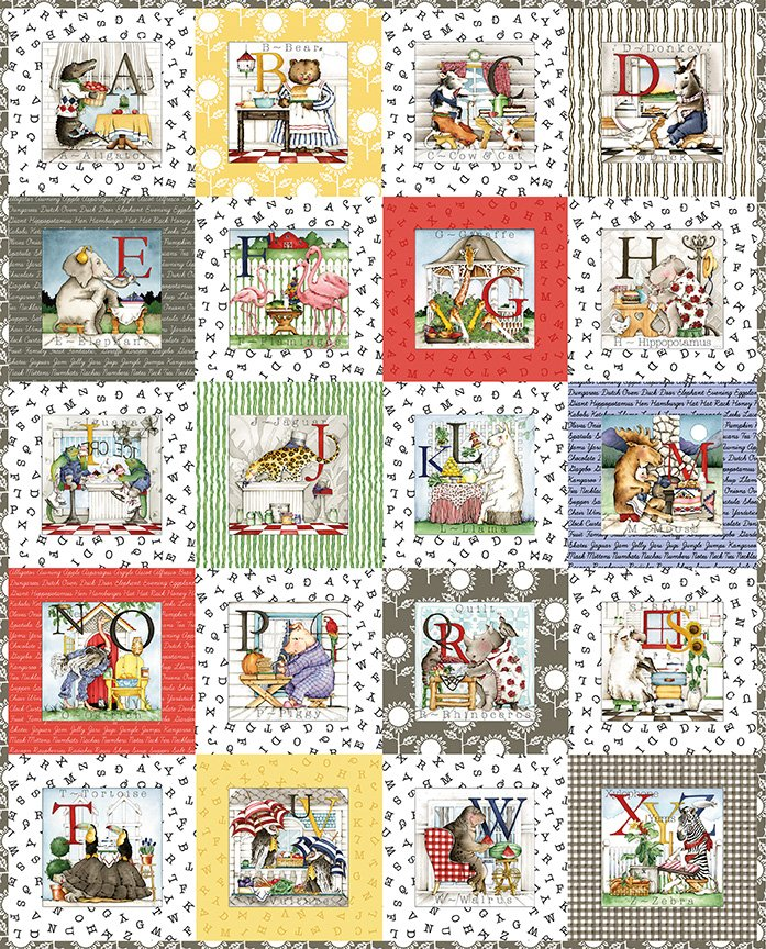 Hungry Animal Alphabet Checkerboard Quilt Kit
