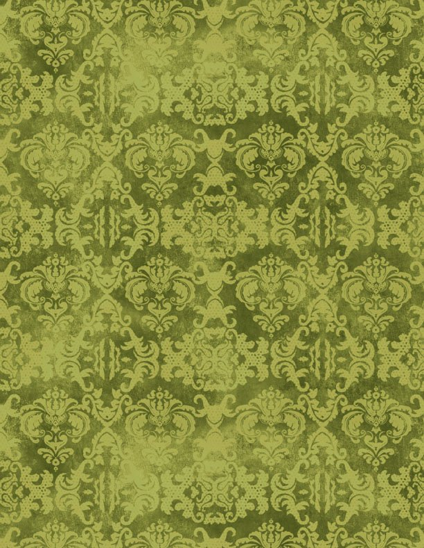 Feather Your Nest Damask Green Tonal