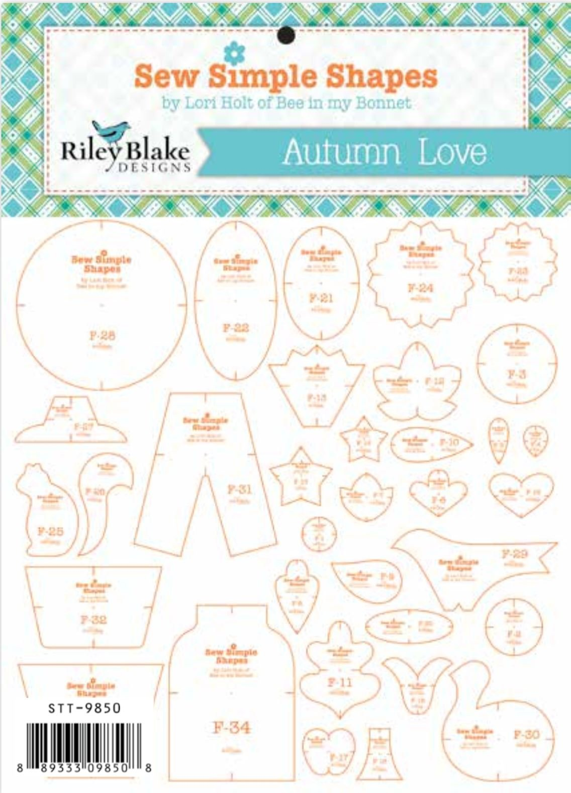 Autumn Love Sew Simple Shapes Mylar Template Set