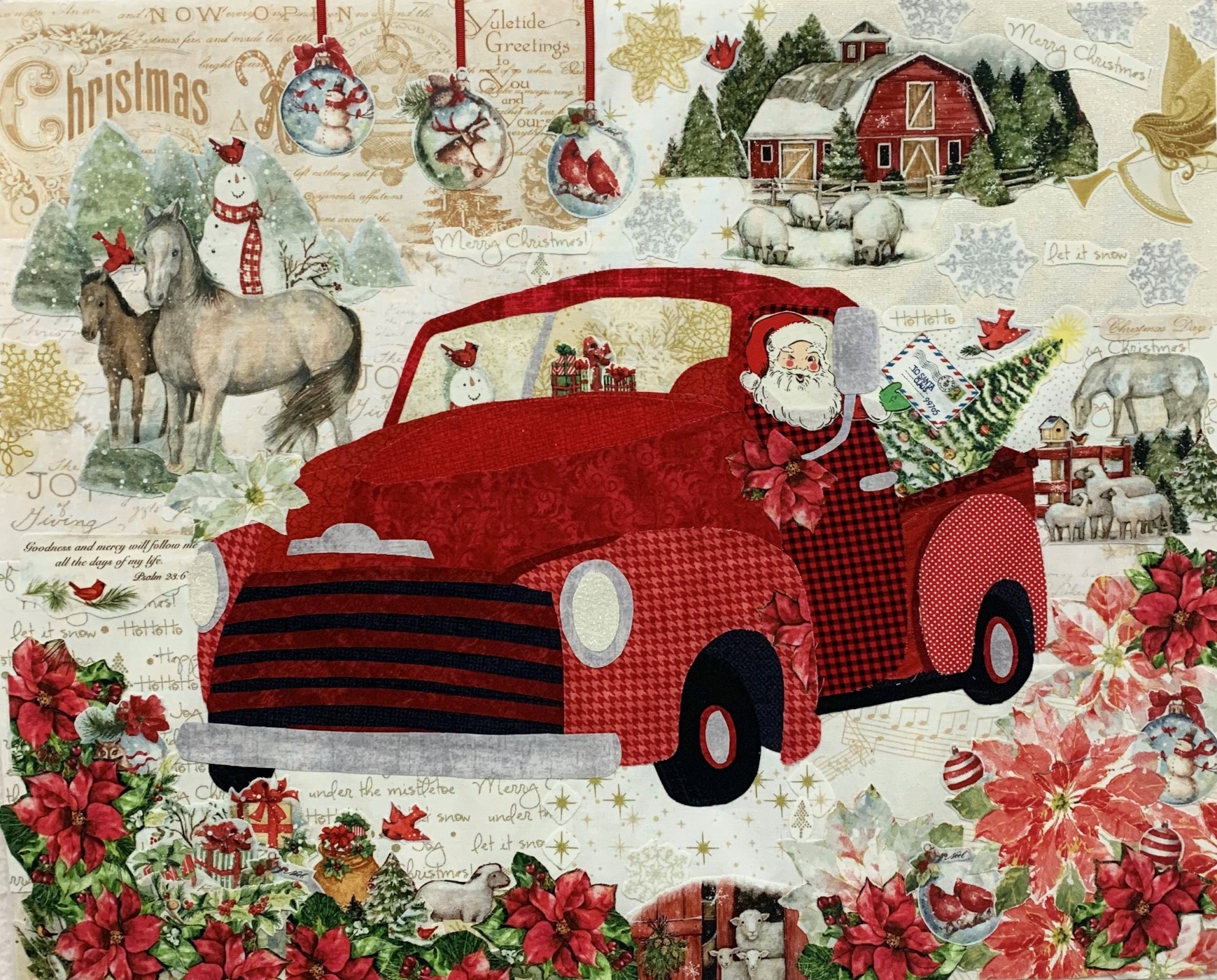 Teeny Tiny Christmas Truck Collage Fabric Kit