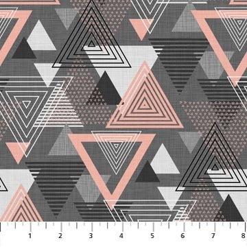 Northcott Cosmo Charcoal Pink Large Triangle