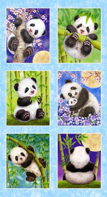 Studio e Panda Sanctuary Block Panel 24 Blue