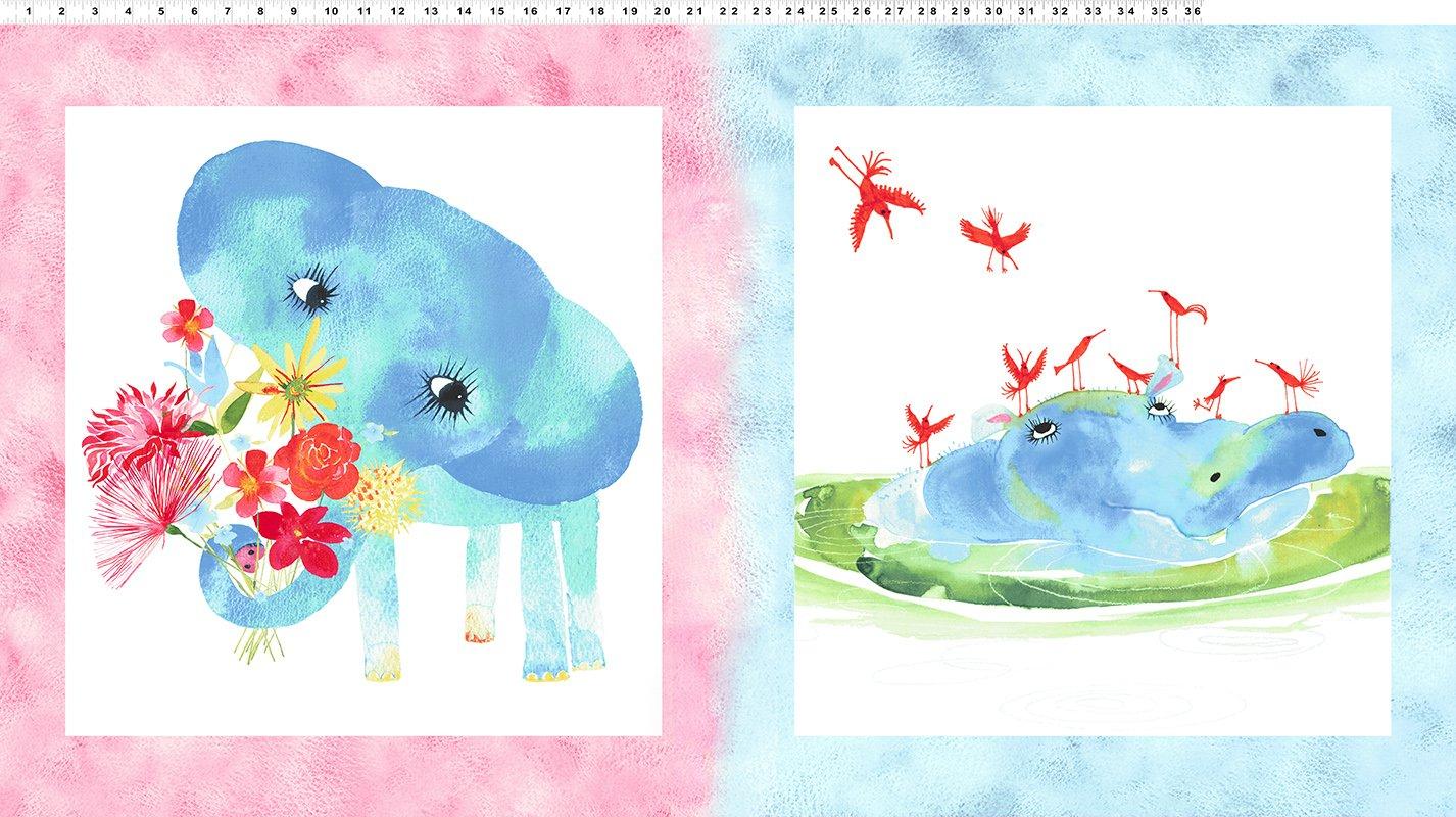Clothworks Baby Gone Wild Large Panel Multi Pastel (priced per panel)