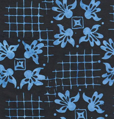 Batik Textiles - Cotton Print Black and Blue