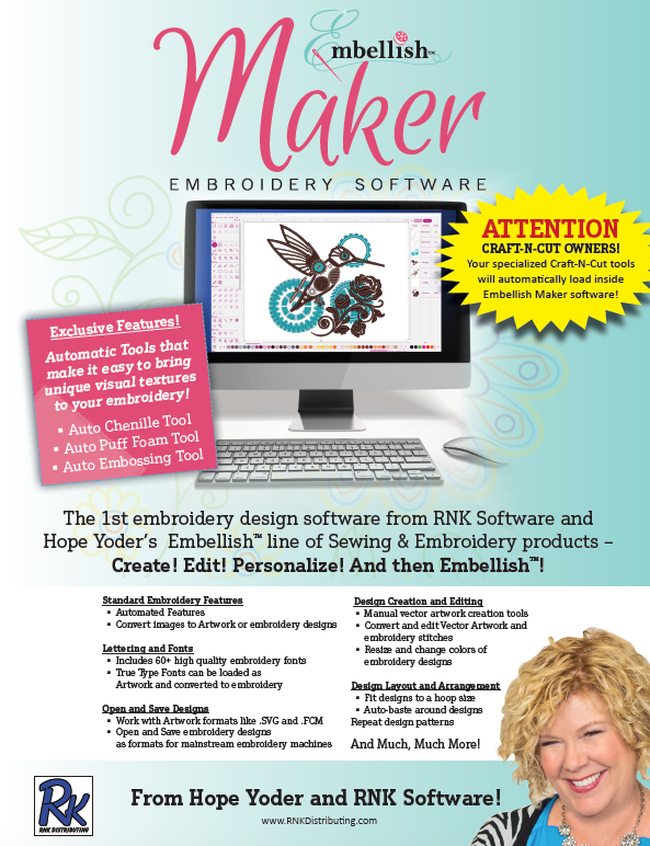 Embellish Maker Embroidery Software from Hope Yoder and RNK Software