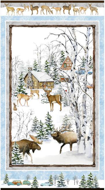 Henry Glass Snowy Woods Panel 24 Multi