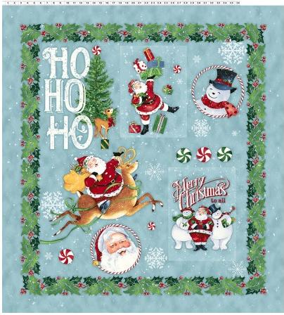 Clothworks Retro Santa by Barb Tourtillotte Large Panel Light Teal