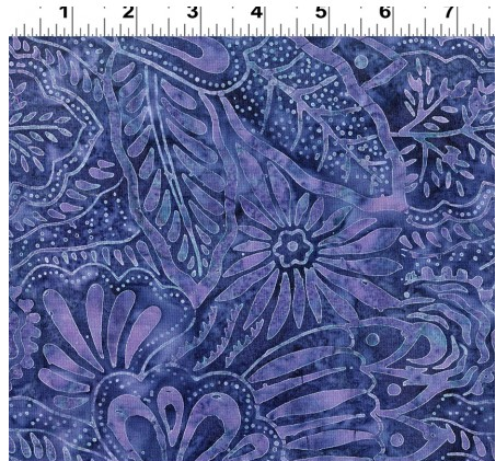 Clothworks Fresh Batiks Botanica 4 Dark Denim