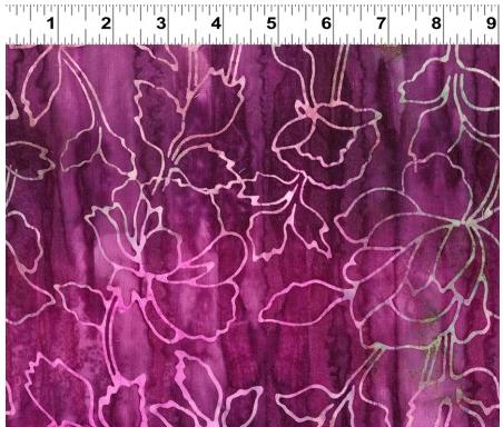 Clothworks Fresh Batiks Botanica 4 Light Wine