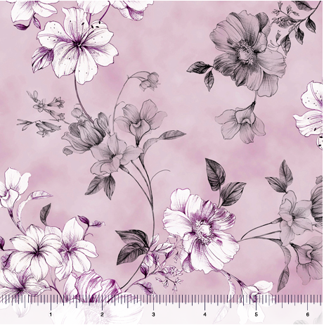 Quilting Treasures Juliette Spaced Floral Vine Lavender