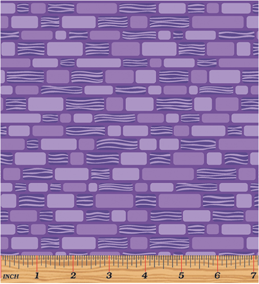 Benartex Free Motion Fantasy Brick Purple