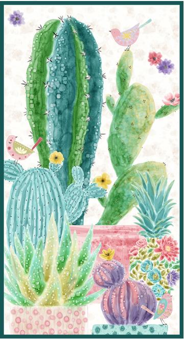 Blank Quilting Sun n' Soil Cactus Panel