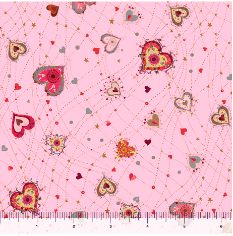 Quilting Treasures With Love Hearts Pink