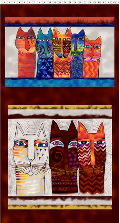 Clothworks Feline Frolic Panel Multi Color Metallic 24