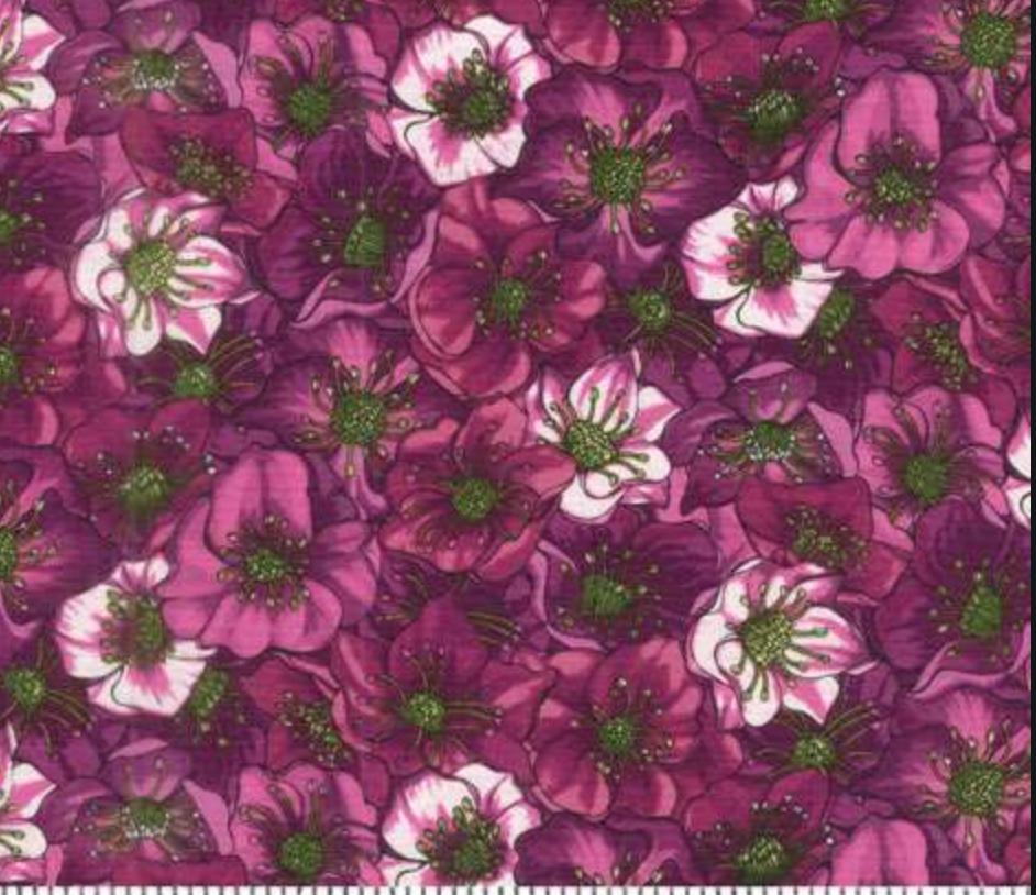 Clothworks Lenten Roses Dark Eggplant