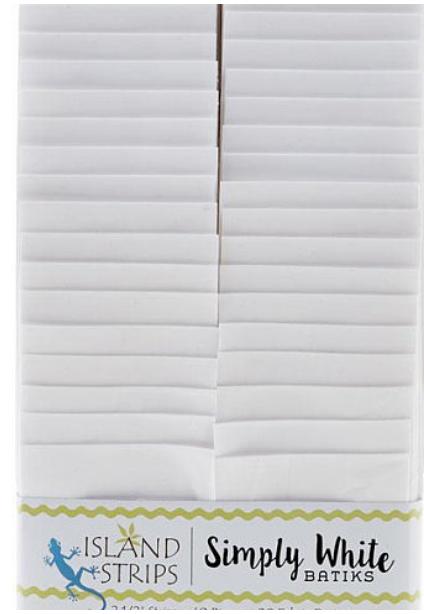 Island Batik Simply White Batik 2 1/2 Strips - 40 PC