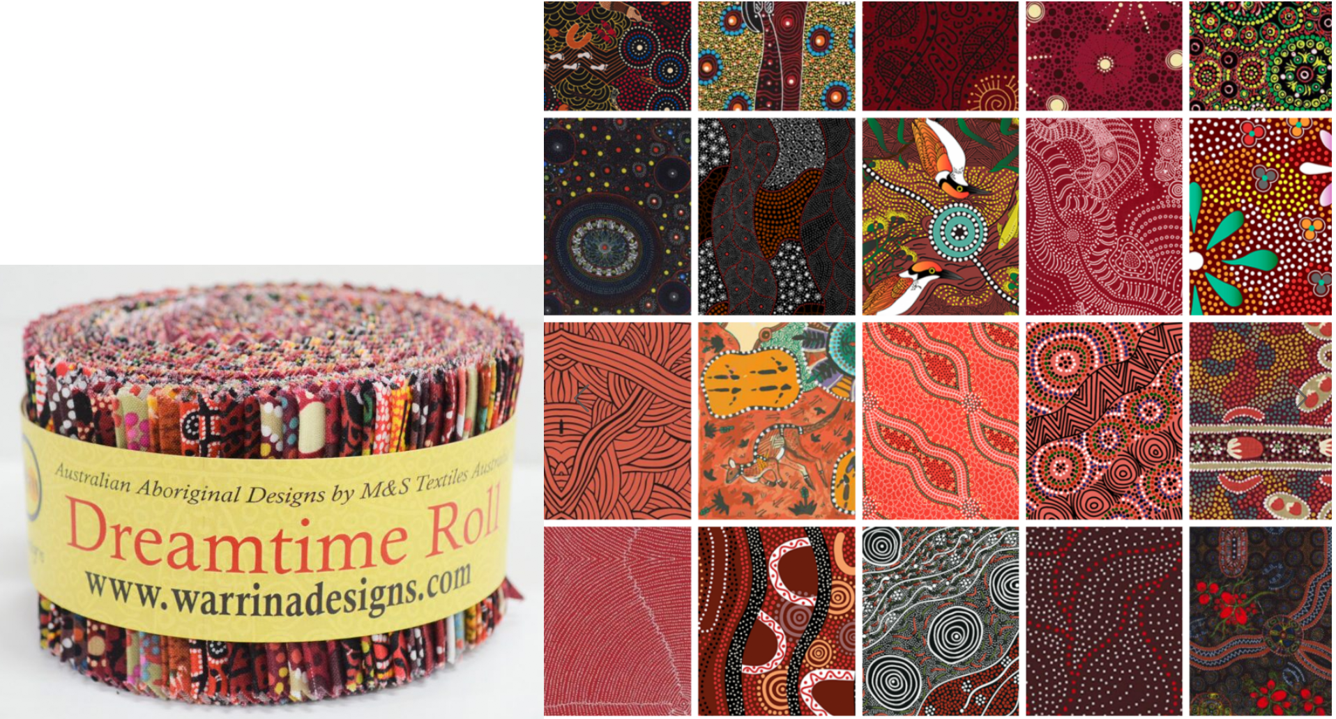 M&S Textiles Dreamtime Roll - Red 40 strips