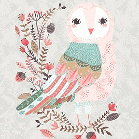 Clothworks Forest Owl Lt Taupe Panel