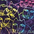 Clothworks Laurel Burch Batik Packed Cats Multi
