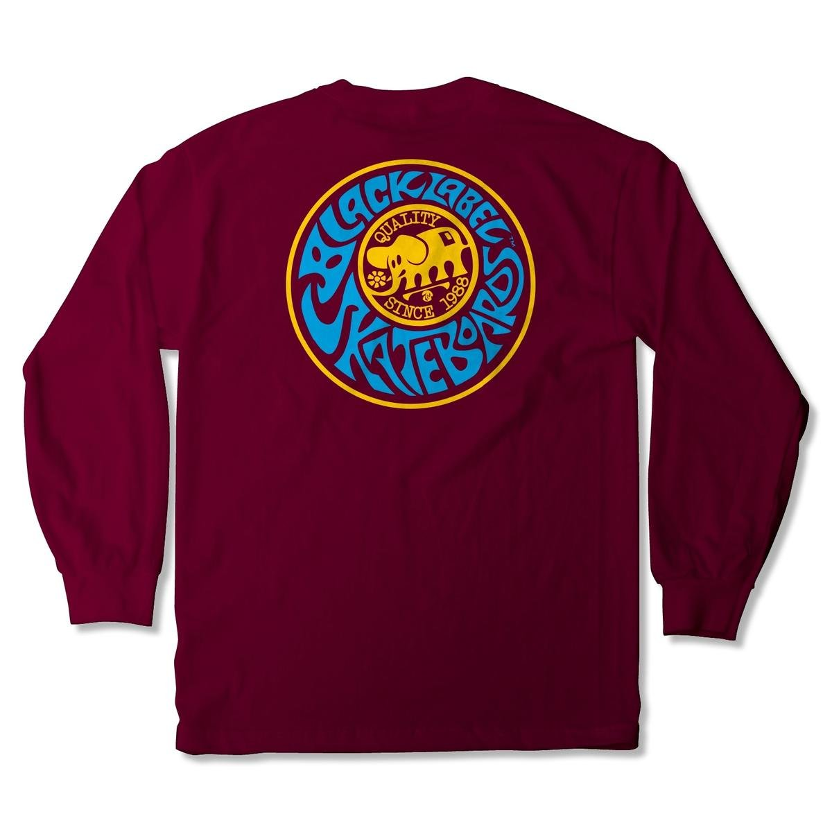 Black Label Quality l/s t shirt Maroon