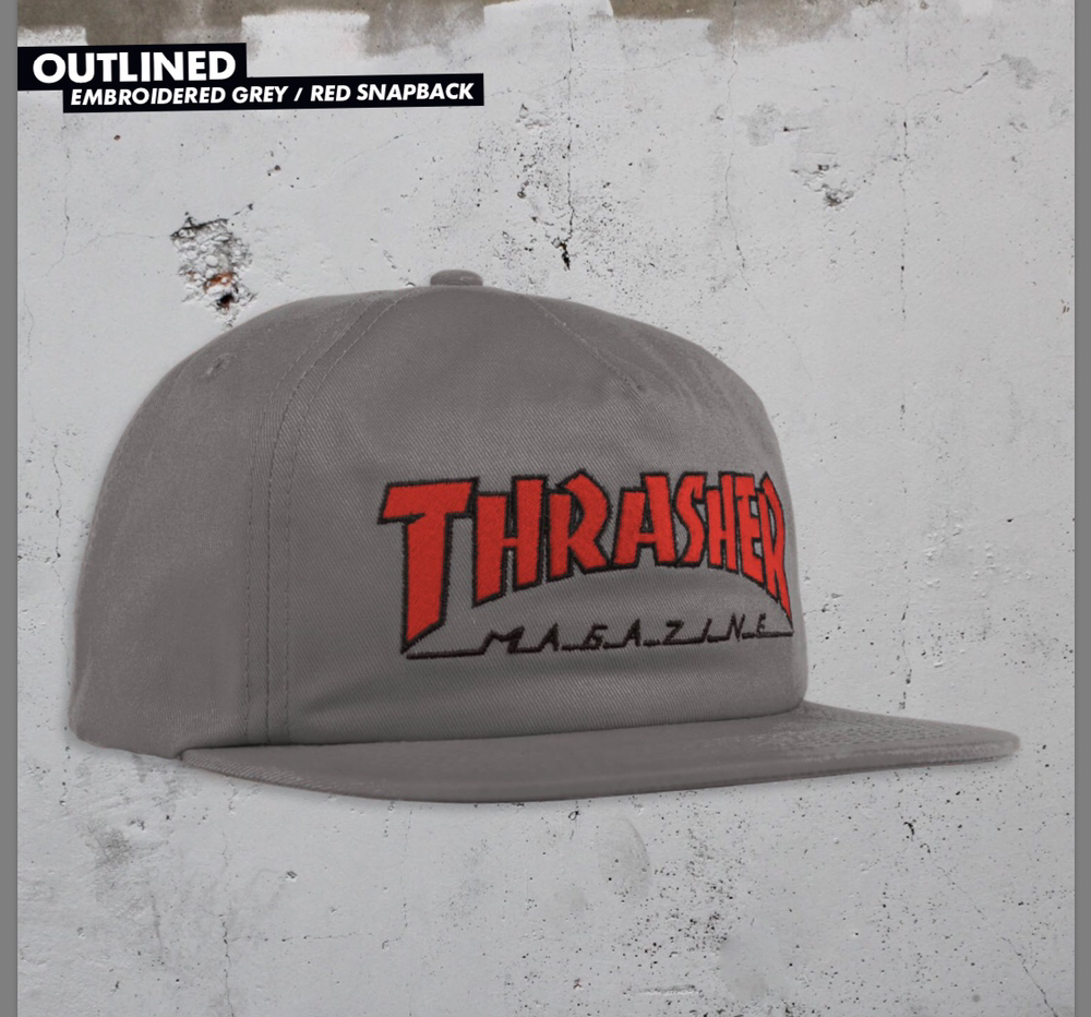 Thrasher Outlined Snapback Hat gray/red