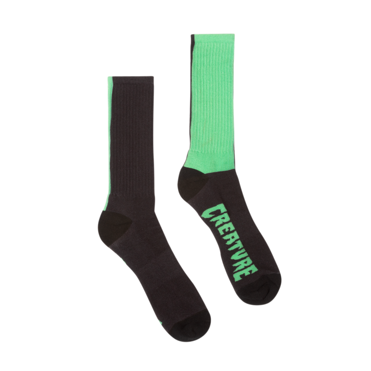 Creature Fifty Fifty Crew Sock  Black/Green