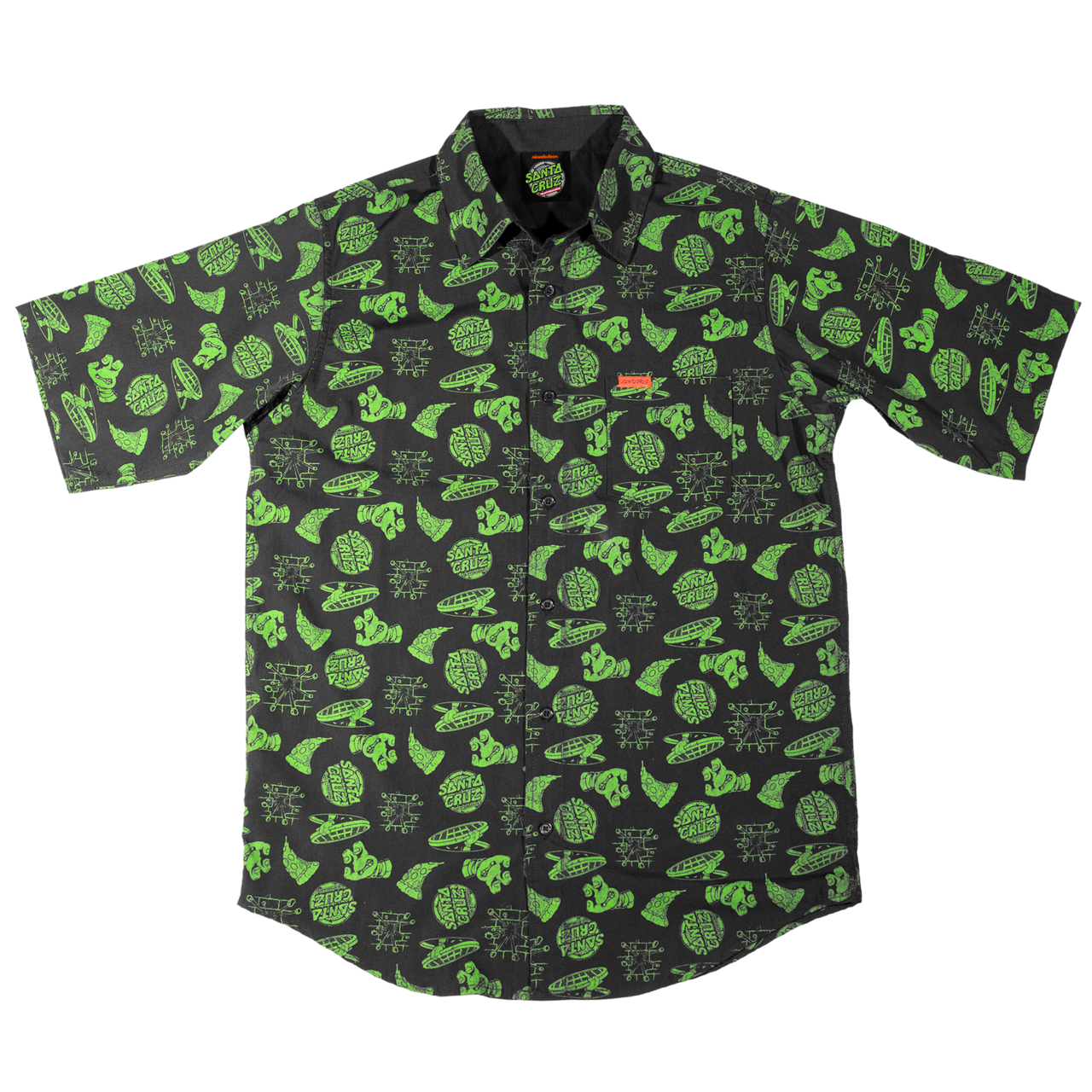Santa Cruz X TMNT Cowabunga s/s button up shirt black