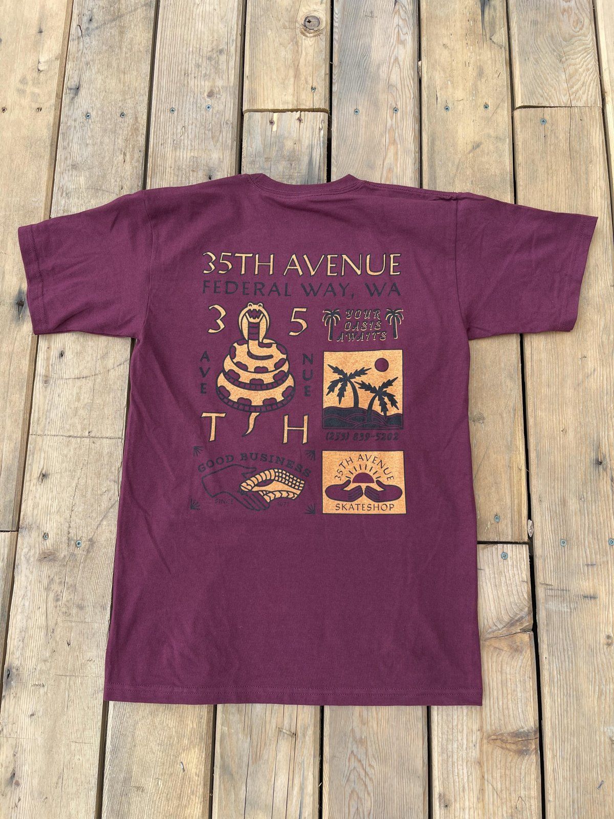 35th ave Good Business s/s t shirt Burgundy