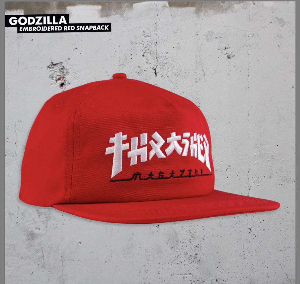 Thrasher Godzilla Snapback Hat Red