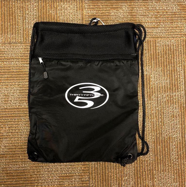 35th Drawstring Bag Full Negative Oval Black