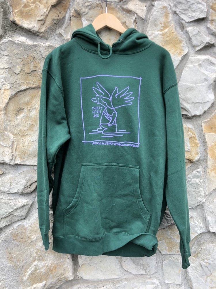 35th Gonz Sketchy Skate shop Appreciation Hooded Sweatshirt Forest Green