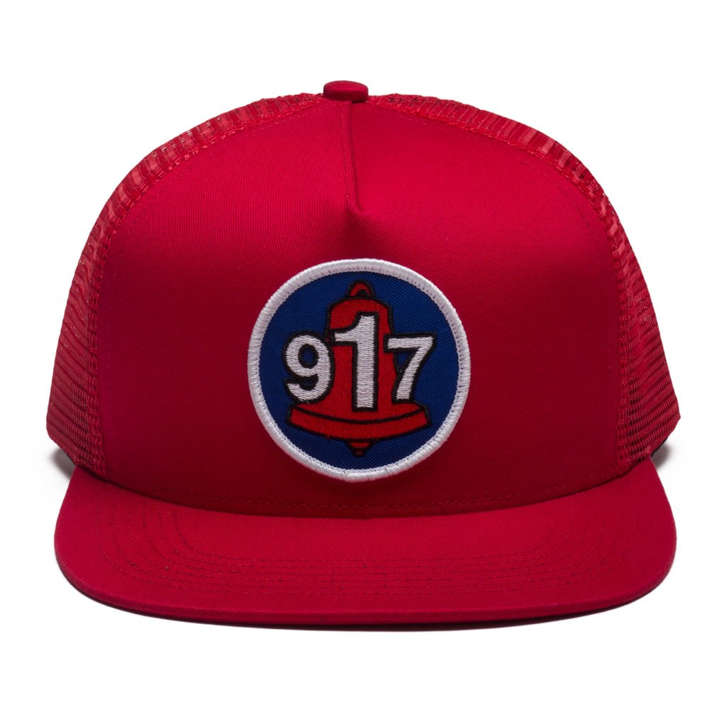 Call Me 917 Club Trucker hat red