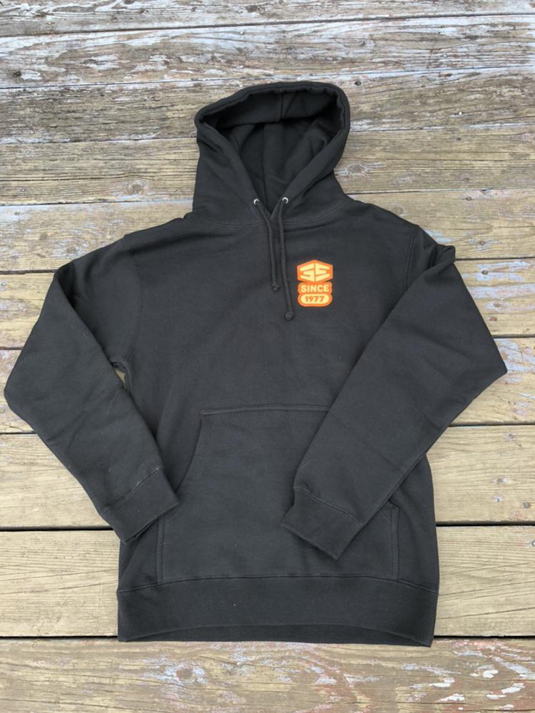 35th Manhole Hooded Sweatshirt Black with Orange/Cream