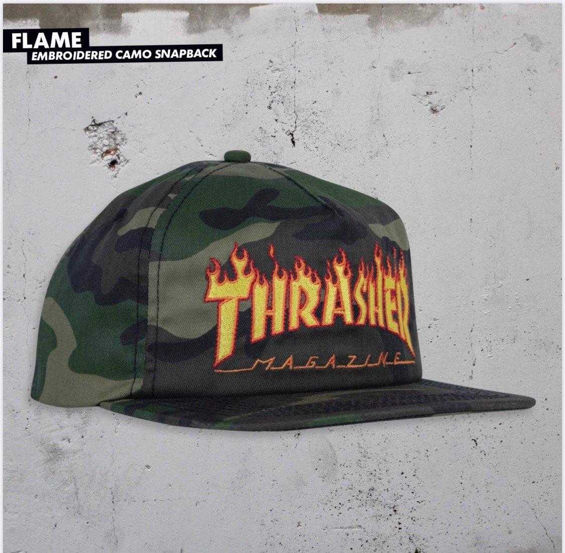 Thrasher Flame Snapback hat Camo