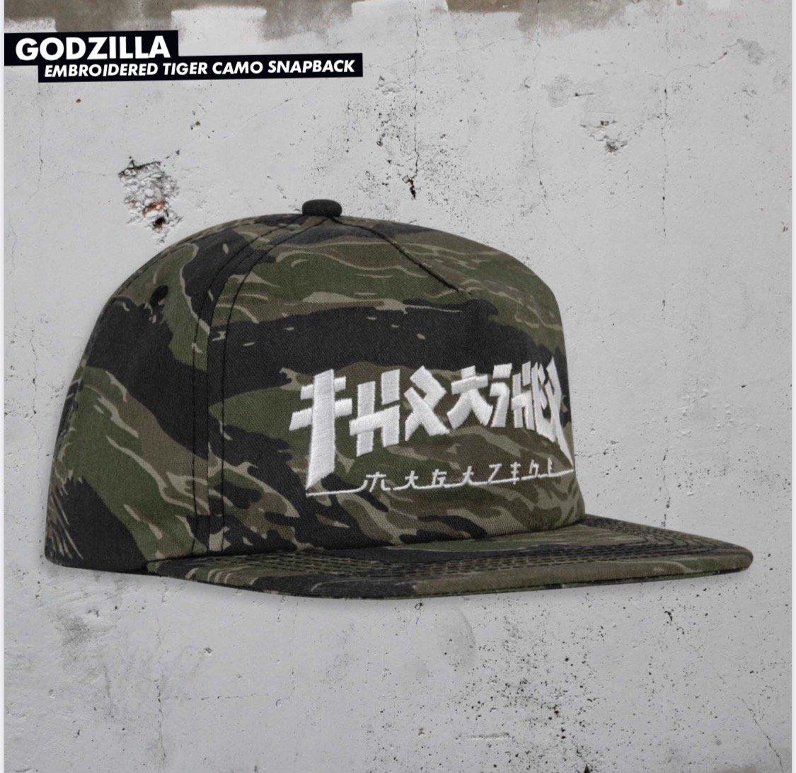 Thrasher Godzilla Snapback hat Tiger Camo