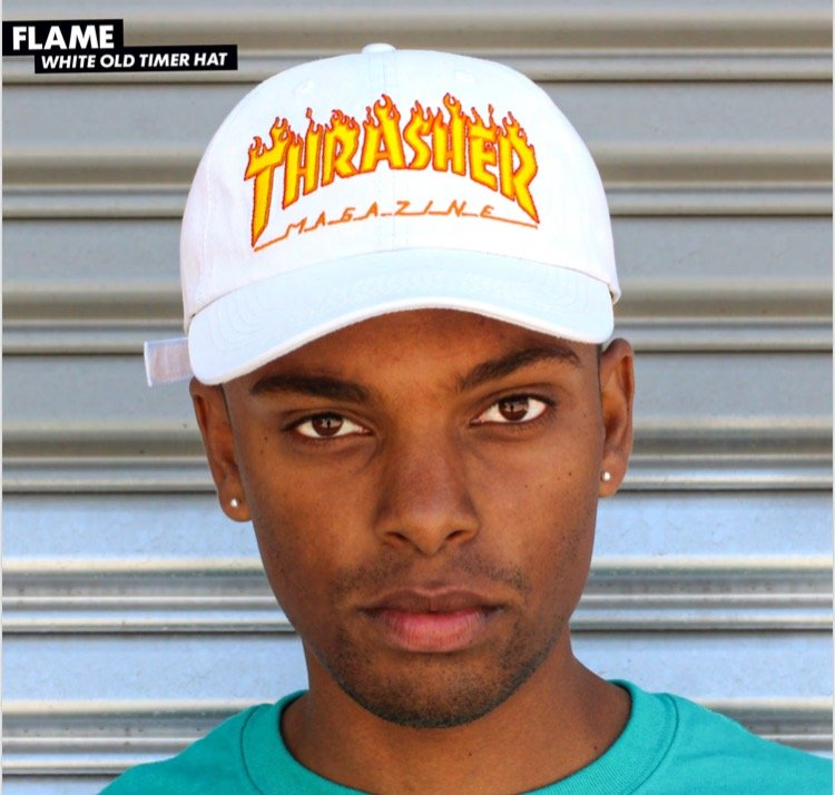 Thrasher Flame Logo Old Timer UnStructured hat white