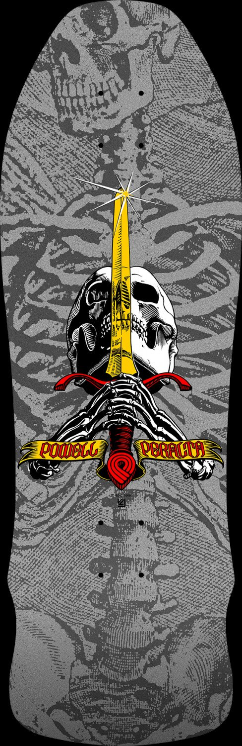 Powell Peralta Geegah Skull and Sword Silver Deck 9.75 X 30